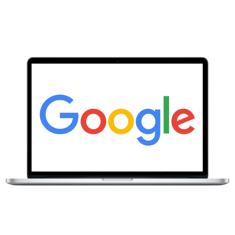 Google logo on black macbook page seo