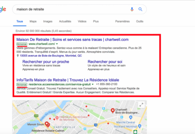 Google adwords marketing pour maison de retraite